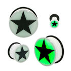 Glow in Dark Star Single Flared Acrylic Ear Plug Gauge Pair CHOOSE YOUR SIZE