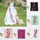 Women Embroidered Floral Scarf Large Cotton Linen Pashmina Shawl Wrap Scarves