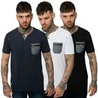 Mens Casual T Shirt Button Up Crew Notch Neck Tee Short Sleeve Fashion Top