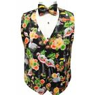 Flamingos and Toucan Tropical Birds Tuxedo Vest and Bow Tie