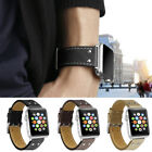 Luxury Handmade Genuine Leather Wrist Band+Clasp For Apple Watch 1 2 3 38/42mm