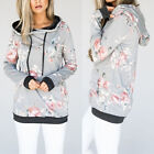 New Womens Print Floral Hoodie Ladies Lace Up Blouse Hooded Flower Shirt Casual