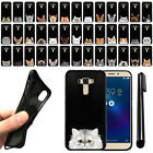 "For Asus ZenFone 3 Laser ZC551KL 5.5"" Cat Design Black SILICONE Case Cover + Pen"