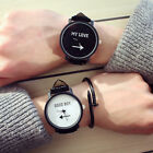 Stainless Steel Leather Band Quartz Couple Men Women Wrist Watch Luxury O9999