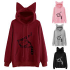 Cute Cat Women Cat Ear Hoodie Sweatshirt Hooded Coat Tops Long Sleeve Blouse TY