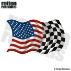 American Racing Checkered Flag Decal United States Vinyl Sticker (RH) EVM