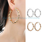 CLIP-ON EARRINGS GOLD HOOP EARRINGS 2.36 INCH ROUND TEXTURED HOOP GOLD TONE