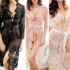 M-5XL 4Colors Women Lace Mesh See Through Long Sleeve Lace-up Nightwear Lengerie