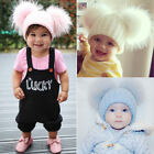 Kids Child Real Fur Double Pom Hat Winter Warm Knit Bobble Beanie Cap 6 Colors