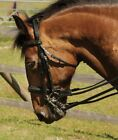 Heritage English Leather Black Horse Cob Pony Comfort Double Bridle & Reins