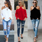 New Sexy Halter Cold Shoulder Long Sleeve Solid Color Casual T-Shirt Tops