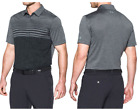 NL-2017 Mens Under Armour Tour Logo Coolswitch Upright Stripe Golf Polo $85 Gray