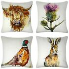 "Luxury Watercolour Cushion Cover Scottish Highlands Cushion Covers 17"" x 17"""