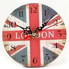 New Prints Pattern Creative Vintage Style Living Room Bedroom Clock Round SH 01