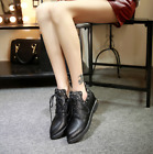 Womens Stars Rivets Ankle Boots Lace Up Pointed Toe Casual Shoes Flat Heels P427
