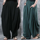 ZANZEA Women Retro Ethnic Loose Harem Pants Drop-Crotch Baggy Wide Legs Trousers