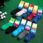 5/10 Pairs Men's Cotton Socks Geometric Pattern Lot Diamond Casual Dress Socks