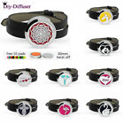 Stainless Steel Aroma Essential Oil Diffuser Locket PU Leather Bracelet+10Pads