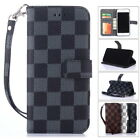 Luxury Classic Grid Leather Wallet Flip Case Cover For Apple iPhone X 6 7 8 PLUS