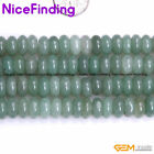 """Natural Rondelle Green Aventurine Jade Stone Spacer Beads For Jewelry Making 15"""""""