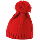 Result Ladies/Womens Cable Knit Pom Pom Winter Beanie Hat