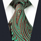"""D24 New Mens Ties Neckties Green Red Paisley Silk 63"""" 57.5"""" Classic Extra Long"""