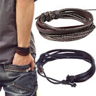 Mens Boys Handmade Leather Braided Surfer Wristband Bracelet Bangle Wrap