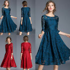 Fashion Lace Three Quarter Sleeve Dress Round Collar Expansion Skirt Women O6733