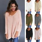Loose Casual Chunky Jumper Tops Winter Women V Neck Knitted Sweater O6641