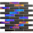 Black Iridescent Glass Mosaic Brick Joint Backsplash Kitchen Wall Pool Tile $26.45 USD on eBay