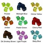 WHOLESALE GLASS BEADS SQUARE CUBE 9 COLORS GREEN RED BLUE AMBER BEAD 6MM OR 4MM