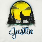 Airbrushed Wolf Howling at the Moon w/ Name S M L XL 2X Airbrush Shirt