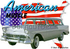 1956 Silver Chevy Nomad Wagon Custom Hot Rod USA T-Shirt 56 Muscle Car Tee's