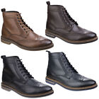 Base London Hurst Mens Leather Lace Up Burnished Waxy Brogue Boot