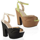 NEW WOMENS STRAPPY LADIES PEEP TOE PLATFORM HIGH BLOCK WEDGE HEEL SHOES SIZE 3-8