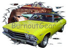1969 Yellow Chevy Chevelle SS Custom Hot Rod Diner T-Shirt 69 Muscle Car Tees