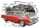 1964 Red Blown Chevy Chevelle Custom Hot Rod Garage T-Shirt 64 Muscle Car Tees
