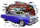 1964 Blue Blown Chevy Chevelle Custom Hot Rod Diner T-Shirt 64 Muscle Car Tees