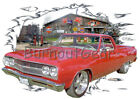 1965 Red Chevy El Camino b Custom Hot Rod Garage T-Shirt 65 Muscle Car Tees