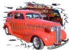 1938 Red Chevy 2 door Sedan a Custom Hot Rod Diner T-Shirt 38 Muscle Car Tee