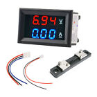 2 in 1 Digital LED Voltmeter Ammeter Red Blue Panel Meter DC 100V+Current Shunt