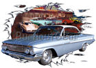 1961 Blue Chevy Impala Custom Hot Rod Diner T-Shirt 61 Muscle Car Tees