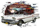 1958 White Chevy Impala Convertible Hot Rod Diner T-Shirt 58 Muscle Car Tees