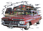 1959 Red Chevy Impala Station Wagon Custom HotRod Garage T-Shirt 59 Muscle Car T