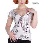 Hell Bunny Shirt 50s Pin Up Top AILANI Palm Trees Pale Pink All Sizes