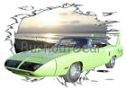 1970 Lime Green Plymouth SuperBird Custom HotRod Sun Set T-Shirt 70 Muscle Car T