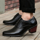 fashion Mens casual dress formal High cuban Heel lace up oxford shoes black new