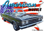 1967 Black Plymouth GTX Custom Hot Rod USA T-Shirt 67 Muscle Car Tees