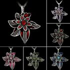 Women Vintage Sliver Rhinestone Flower Crystal Chain Pendant Necklace Jewelry