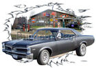 1967 Black Pontiac Lemans Custom Hot Rod Garage T-Shirt 67 Muscle Car Tees